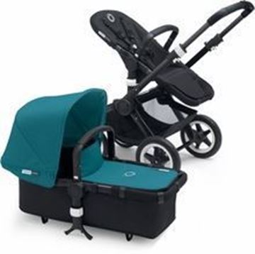 Picture of Bugaboo Buffalo Black Frame With Petrol blue fabric set
