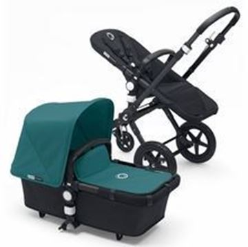 Picture of Bugaboo Cameleon Black Frame with Petrol Blue Fabric Set